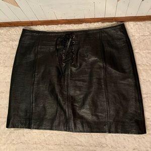 Wilson's Black Leather Mini Skirt